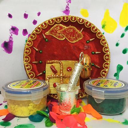Pooja Thali with Silver Balti Pichkari Combo