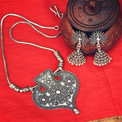 Leaf German Silver Necklace  Set