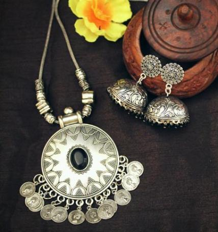 Vintage Coin German Silver Necklace Set
