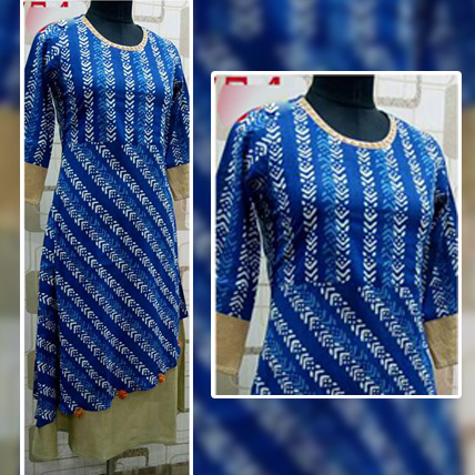 Blue Cotton Kurti with Golden Borders