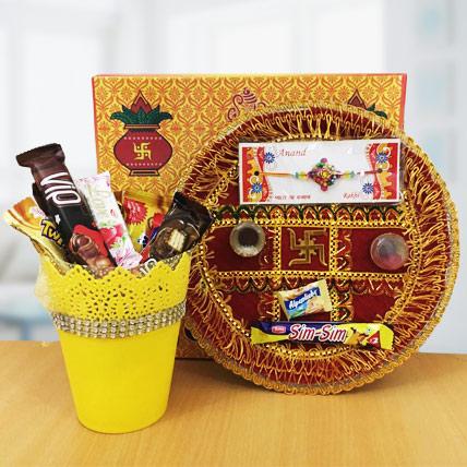 Rakhi Thali with Imported Chocolate Bucket