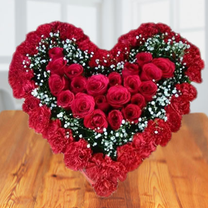 Heart In Heart Red Flowers Bouquet