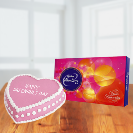 Valentine Heart Cake and Cadbury Celebration