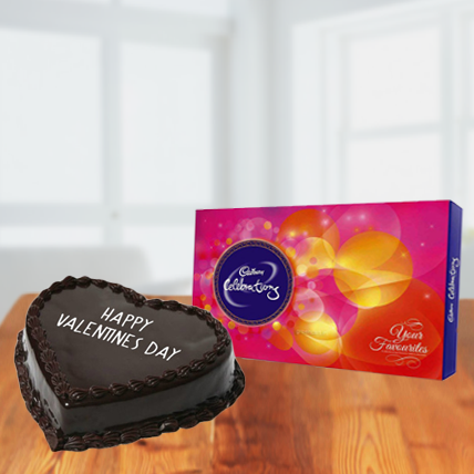 Valentine Chocolate Heart Cake and Cadbury Celebration
