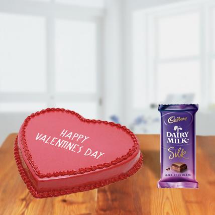 Valentine Red Heart Cake and Chocolates