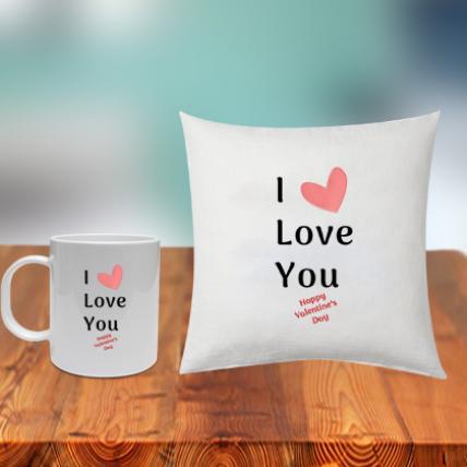 I Love You Cushion and Mug
