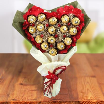 Exclusive Ferrero Rocher Heart  Chocolate Bouquet