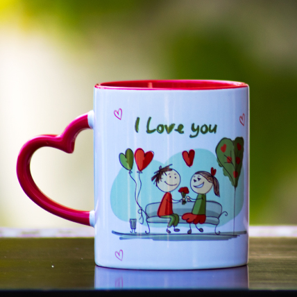 I Love You Heart Handle Mug