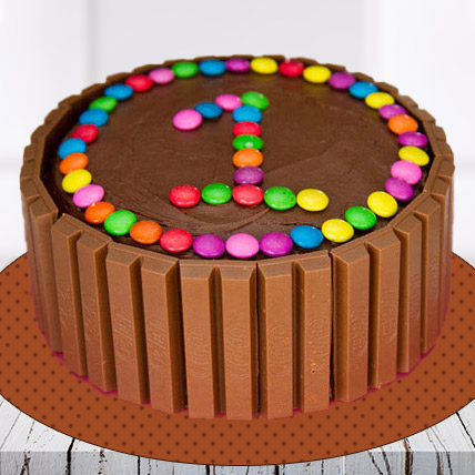 Kit Kat Number Cake with Gems