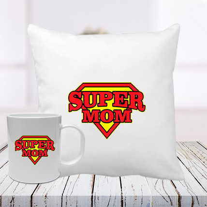 Super Mom Cushion Mug Combo
