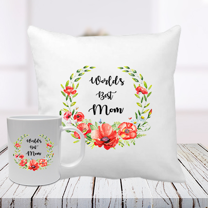 Worlds Best Mum Cushion Mug Combo