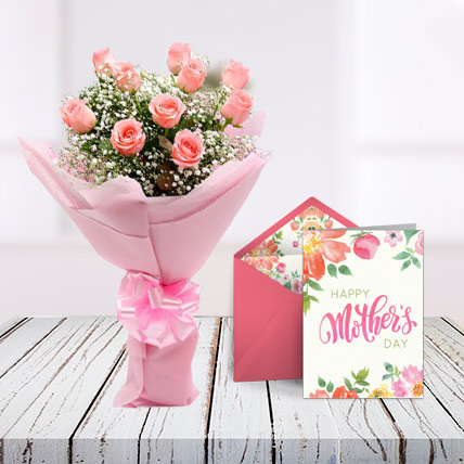 Mothers Day Pink Roses and Card