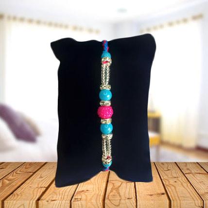 Blue Beads with Pink Rakhi