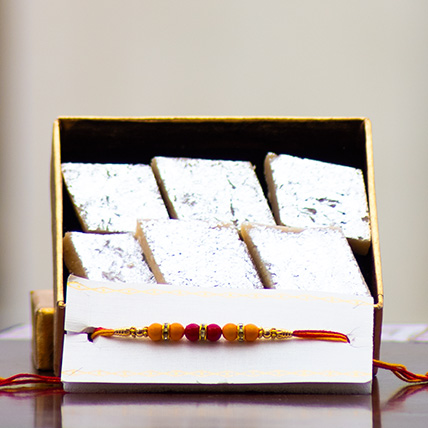 Colorful Beads Rakhi with Kaju Barfi