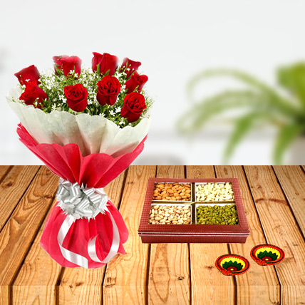 Diwali Flower and Dry Fruits Combo