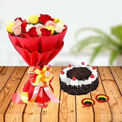 Diwali Mix Roses and Cake Combo