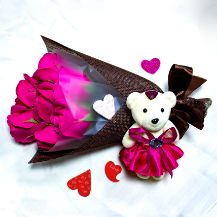 Pink Roses Bouquet with Teddy