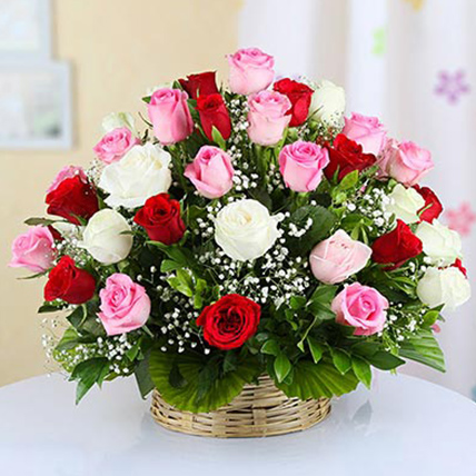 Mixed Roses Basket Large