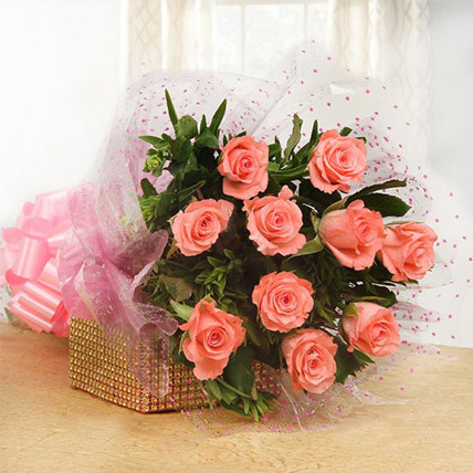Peach Roses Bouquet