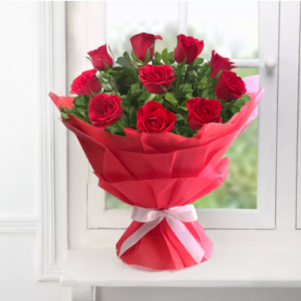 Valentine 18 Delightful Red Roses Bouquet