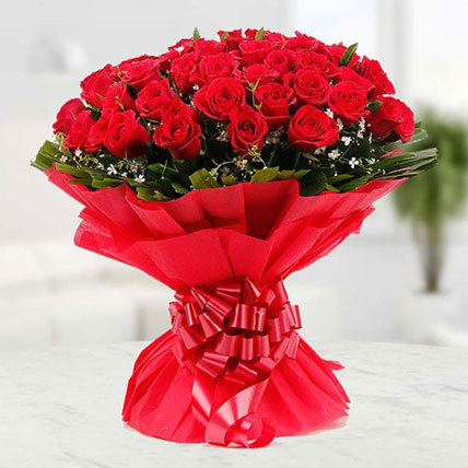 Valentine 50 Red Roses Bouquet Large