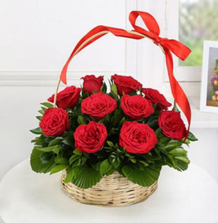 Valentine 24 Red Roses Basket