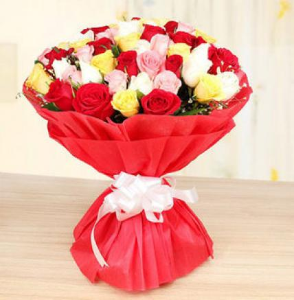Valentine 75 Mixed Roses Bouquet Large