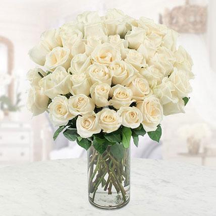 White Roses Vase Large