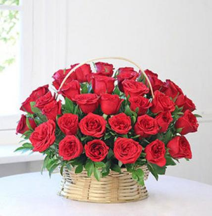 Valentine 50 Red Roses Basket