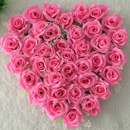 Valentine Pink Roses Heart - Medium