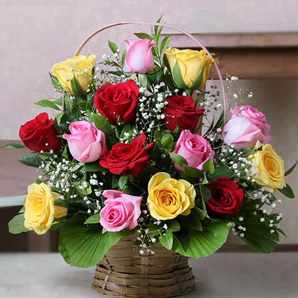 Valentine 18 Mixed Roses Basket