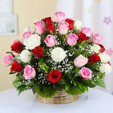 Valentine 50 Mixed Roses Basket