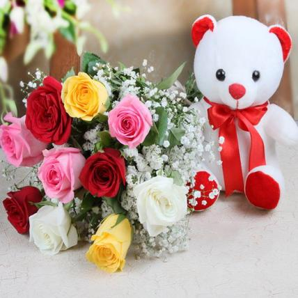 Valentine Mixed Roses and Teddy Bear