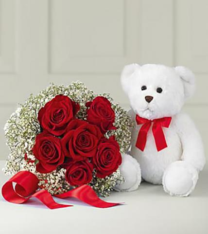 Valentine Beautiful Red Roses and Teddy