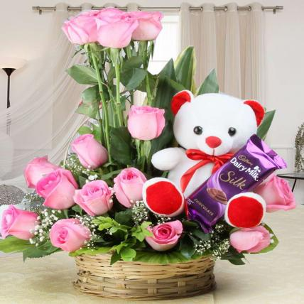 Valentine Rose, Teddy and Chocolate combo