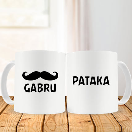 Valentine Gabru and Pataka Couple Mug
