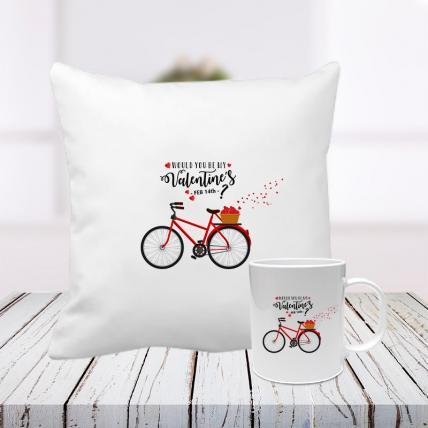 Would You Be My Valentine Cushion and Mug