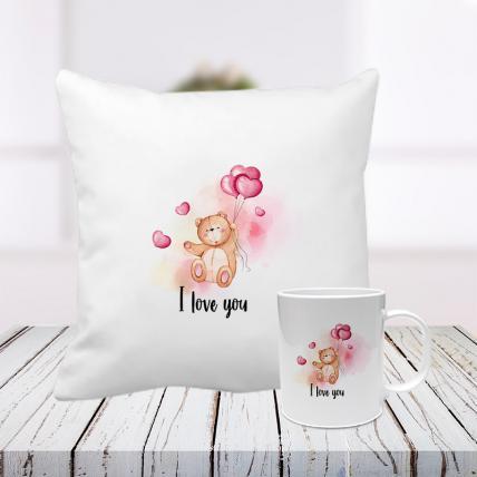 I Love You My Teddy Cushion and Mug Combo
