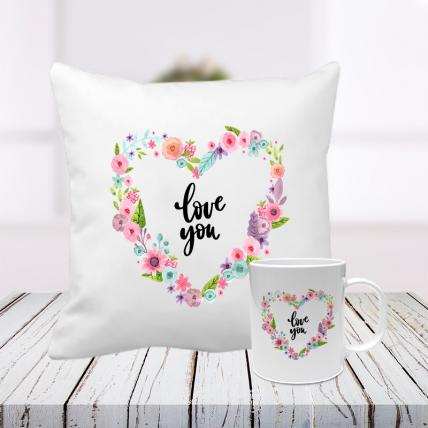 Love You Cushion and Mug