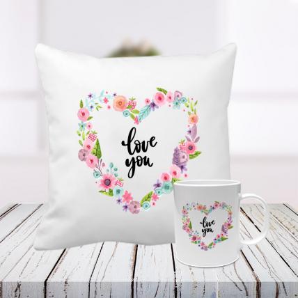 Love You Cushion and Mug