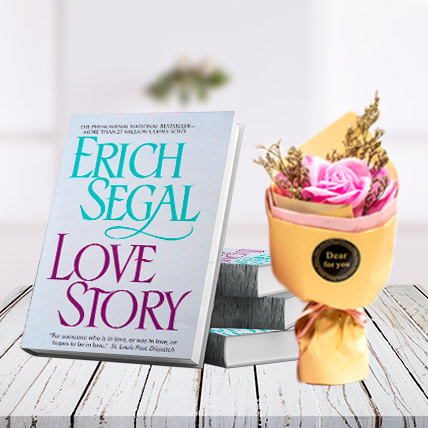 Love Story Book and Flower Bouquet Combo