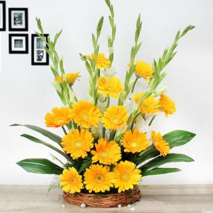 Yellow Gerbera and White Glad Floral arrangement