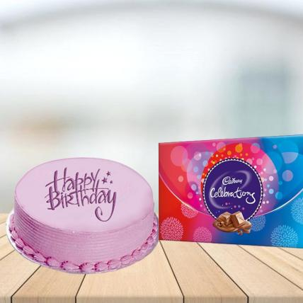 Pink Strawberry Cake with Cadbury Celebration Combo