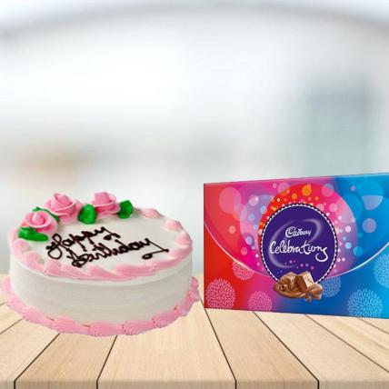 Strawberry Cake with Cadbury Celebration Combo