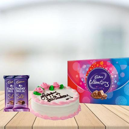 Strawberry Cake with Assorted Chocolates Combo
