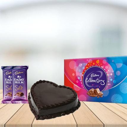 Heart Chocolate Cake with Assorted Chocolates Combo
