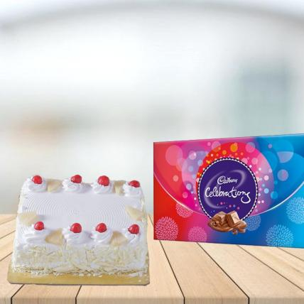 Square Pineapple Cake with Cadbury Celebration Combo
