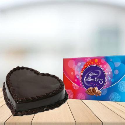 Heart Shape Chocolate Cake with Cadbury Celebration Combo