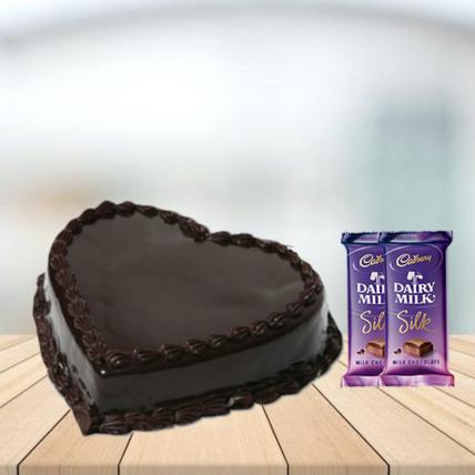 Heart Shape Chocolate Cake with Cadbury Silk Combo