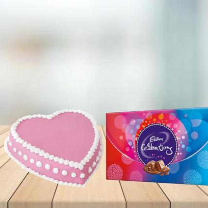 Heart Shape Strawberry Cake with Cadbury Celebration Combo
